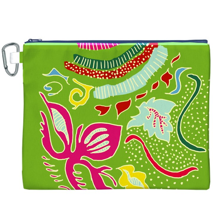 Green Organic Abstract Canvas Cosmetic Bag (XXXL)