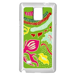 Green Organic Abstract Samsung Galaxy Note 4 Case (white)