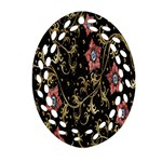 Floral Pattern Background Oval Filigree Ornament (2-Side)  Front
