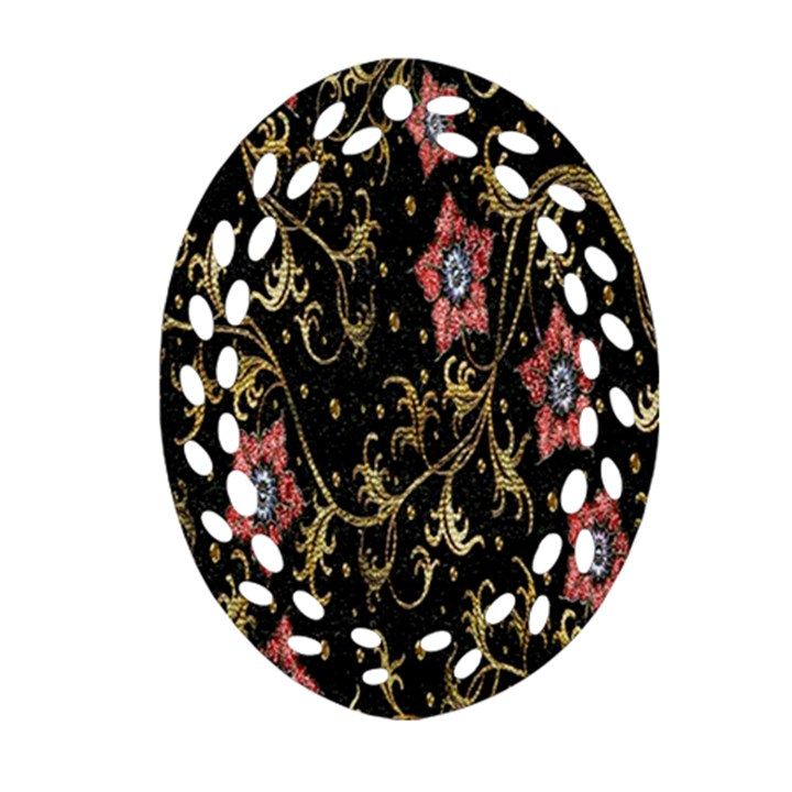 Floral Pattern Background Oval Filigree Ornament (2-Side)
