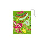 Green Organic Abstract Drawstring Pouches (XS)  Front