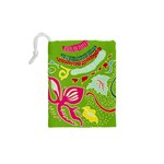 Green Organic Abstract Drawstring Pouches (XS)  Back