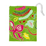 Green Organic Abstract Drawstring Pouches (Extra Large) Front