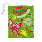 Green Organic Abstract Drawstring Pouches (Extra Large) Back