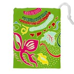 Green Organic Abstract Drawstring Pouches (XXL) Front