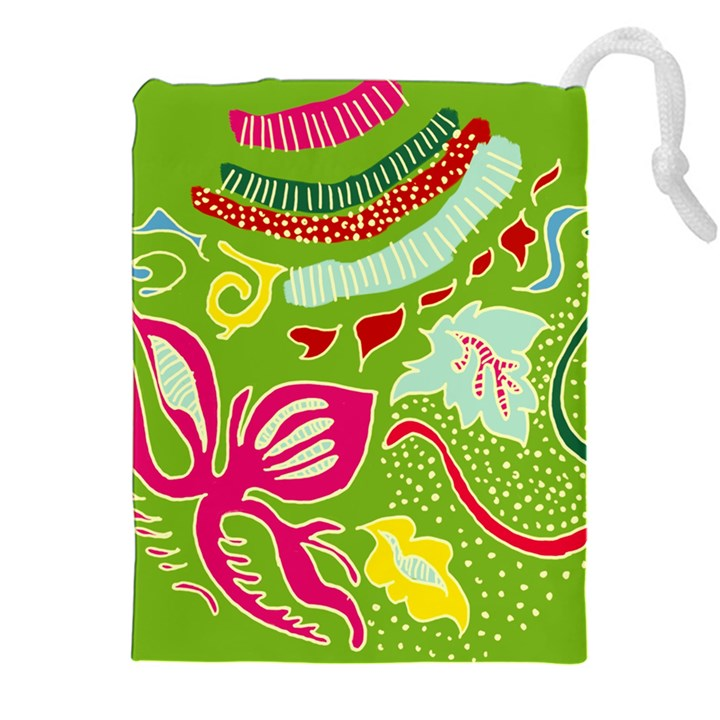 Green Organic Abstract Drawstring Pouches (XXL)