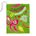 Green Organic Abstract Drawstring Pouches (XXL) Back