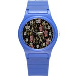 Floral Pattern Background Round Plastic Sport Watch (S) Front