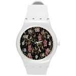 Floral Pattern Background Round Plastic Sport Watch (M) Front