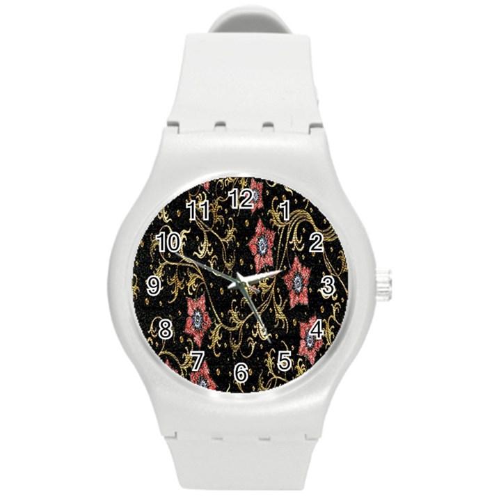Floral Pattern Background Round Plastic Sport Watch (M)