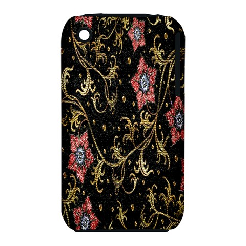 Floral Pattern Background Apple iPhone 3G/3GS Hardshell Case (PC+Silicone)