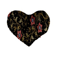 Floral Pattern Background Standard 16  Premium Heart Shape Cushions