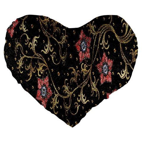 Floral Pattern Background Large 19  Premium Heart Shape Cushions