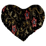 Floral Pattern Background Large 19  Premium Heart Shape Cushions Front
