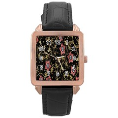 Floral Pattern Background Rose Gold Leather Watch