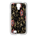 Floral Pattern Background Samsung GALAXY S4 I9500/ I9505 Case (White) Front