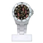 Floral Pattern Background Plastic Nurses Watch Front