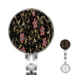Floral Pattern Background Stainless Steel Nurses Watch Front
