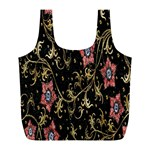 Floral Pattern Background Full Print Recycle Bags (L)  Back
