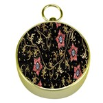 Floral Pattern Background Gold Compasses Front