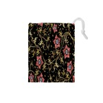 Floral Pattern Background Drawstring Pouches (Small)  Front