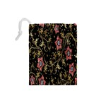 Floral Pattern Background Drawstring Pouches (Small)  Back