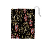 Floral Pattern Background Drawstring Pouches (Medium)  Front