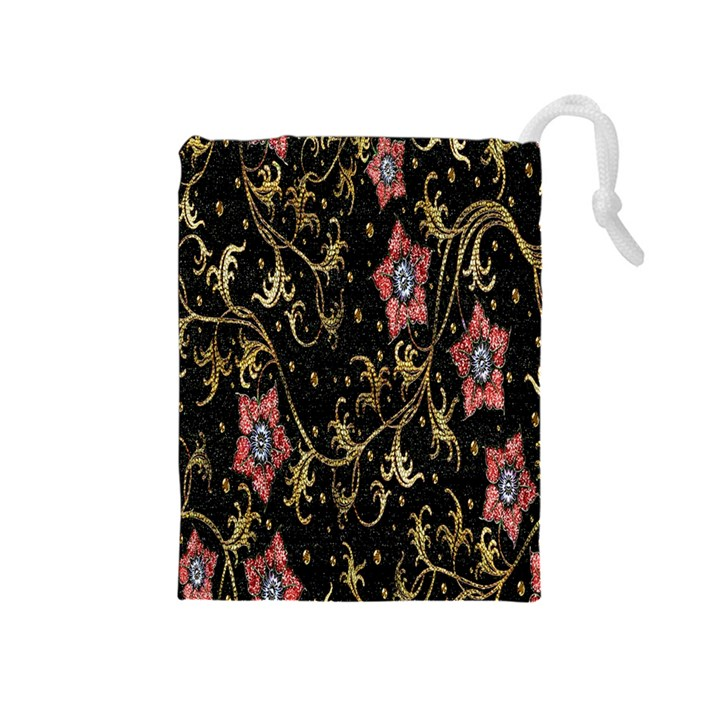 Floral Pattern Background Drawstring Pouches (Medium)