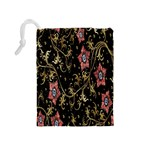 Floral Pattern Background Drawstring Pouches (Medium)  Back