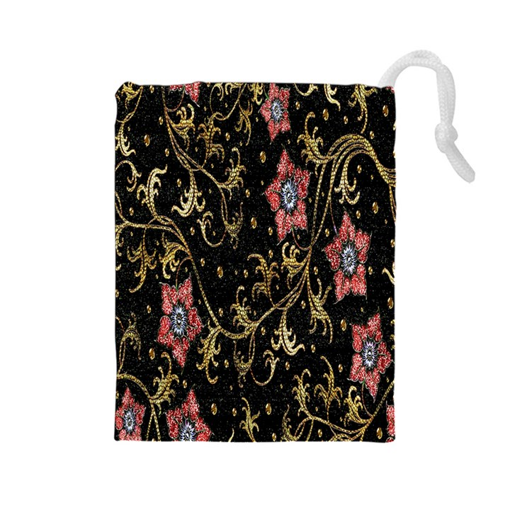 Floral Pattern Background Drawstring Pouches (Large)