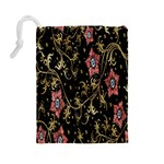 Floral Pattern Background Drawstring Pouches (Large)  Back
