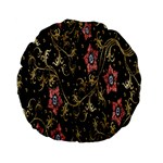 Floral Pattern Background Standard 15  Premium Flano Round Cushions Back