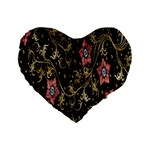 Floral Pattern Background Standard 16  Premium Flano Heart Shape Cushions Front