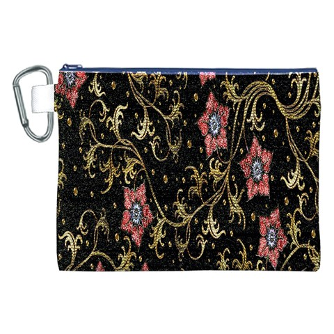 Floral Pattern Background Canvas Cosmetic Bag (XXL)