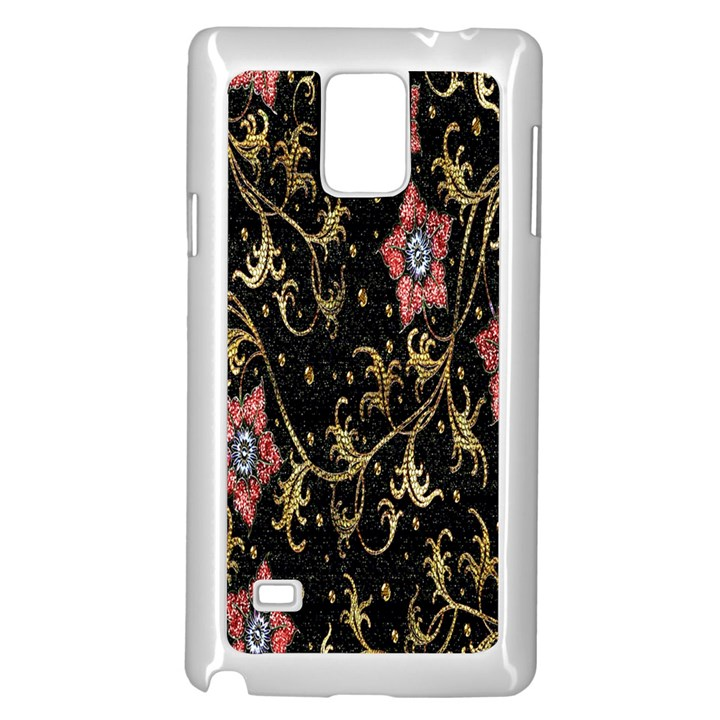 Floral Pattern Background Samsung Galaxy Note 4 Case (White)