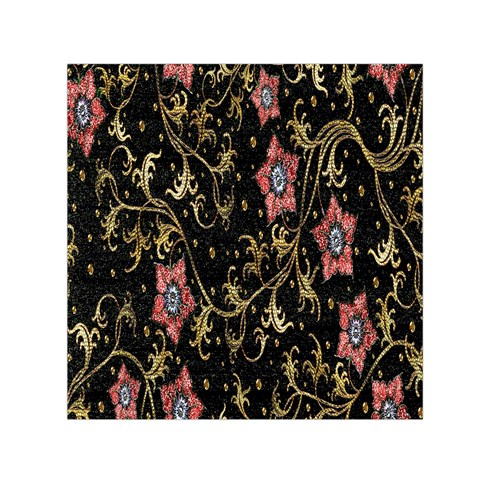 Floral Pattern Background Small Satin Scarf (Square)