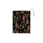 Floral Pattern Background Drawstring Pouches (XS)  Front