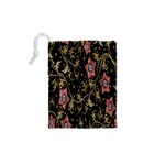 Floral Pattern Background Drawstring Pouches (XS)  Back