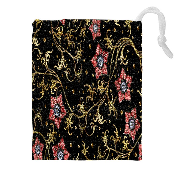 Floral Pattern Background Drawstring Pouches (XXL)