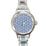 Colorful Retro Geometric Pattern Round Italian Charm Watch Front