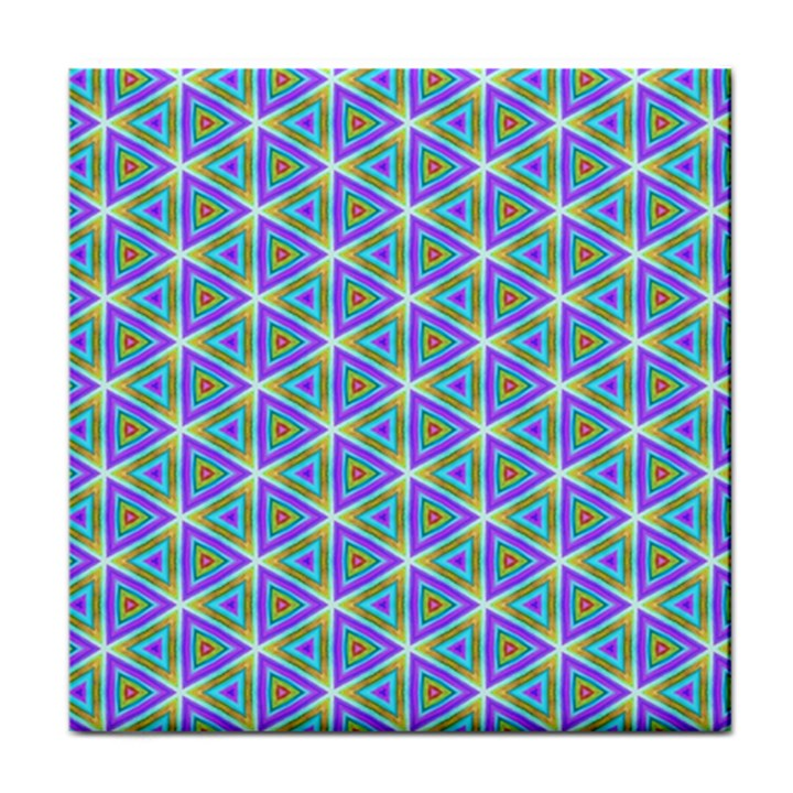 Colorful Retro Geometric Pattern Tile Coasters