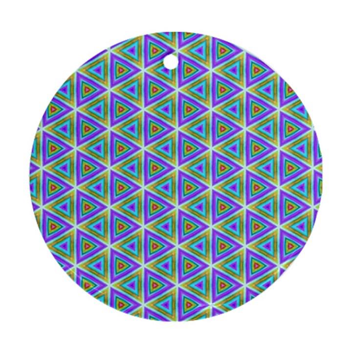 Colorful Retro Geometric Pattern Ornament (Round)