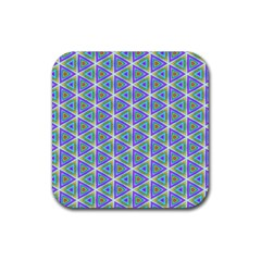 Colorful Retro Geometric Pattern Rubber Coaster (Square)