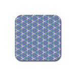 Colorful Retro Geometric Pattern Rubber Square Coaster (4 pack)  Front