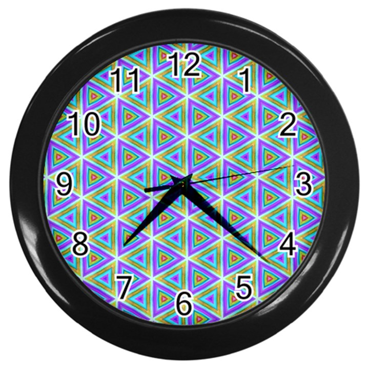 Colorful Retro Geometric Pattern Wall Clocks (Black)