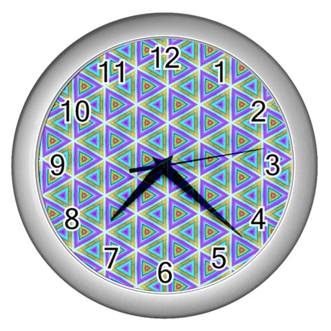 Colorful Retro Geometric Pattern Wall Clocks (Silver)