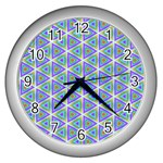Colorful Retro Geometric Pattern Wall Clocks (Silver)  Front