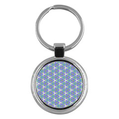 Colorful Retro Geometric Pattern Key Chains (round)