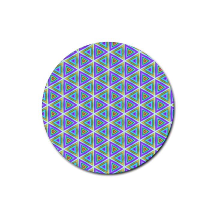 Colorful Retro Geometric Pattern Rubber Coaster (Round)