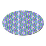 Colorful Retro Geometric Pattern Oval Magnet Front